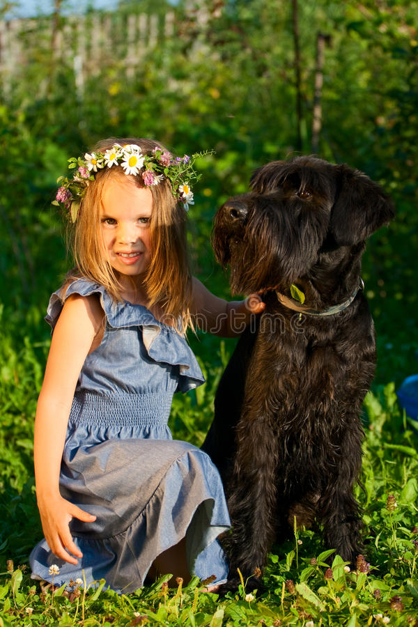 Free Portrait Of Beautifull Girl And Her Black Dog. Royalty Free Stock Photography - 15159037