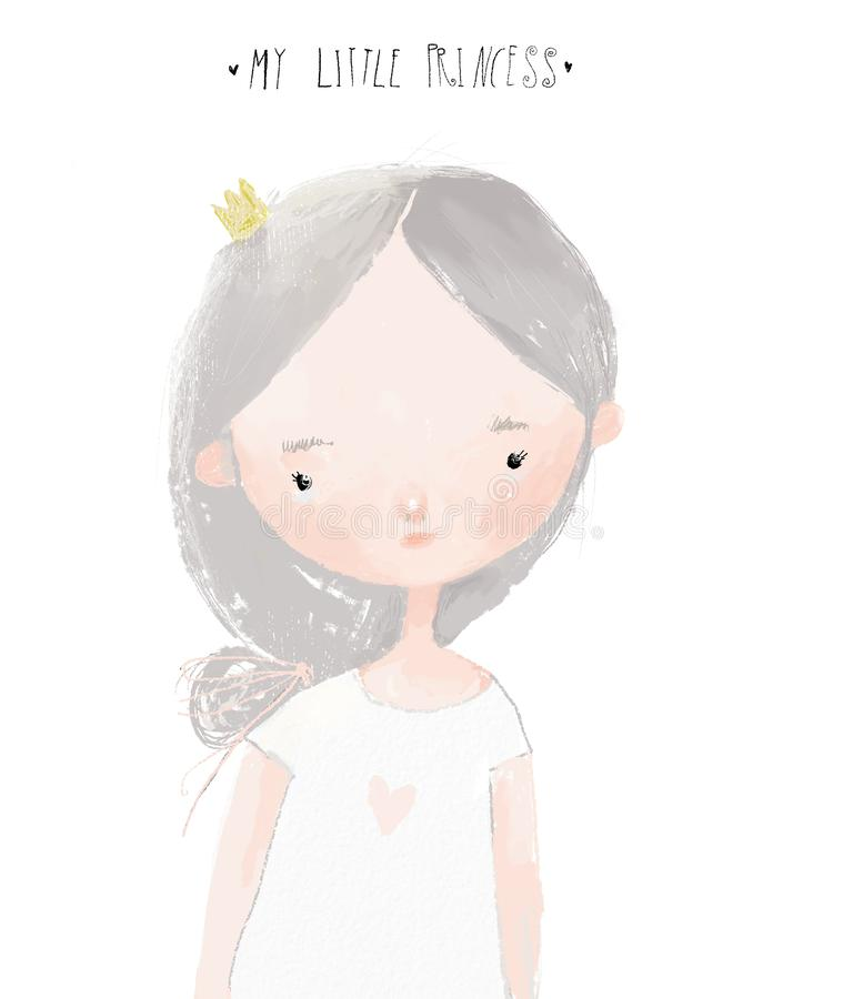 Free Portrait Of Cartoon Little Girl With Crown Royalty Free Stock Photo - 153474955