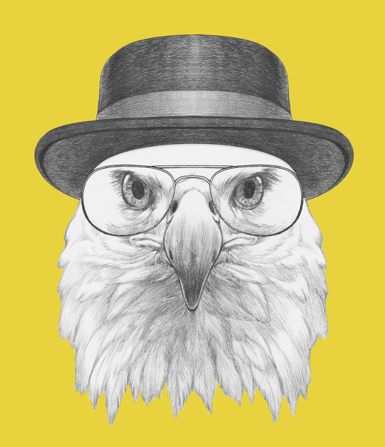 Free Portrait Of Eagle With Hat And Glasses. Royalty Free Stock Photo - 85477885