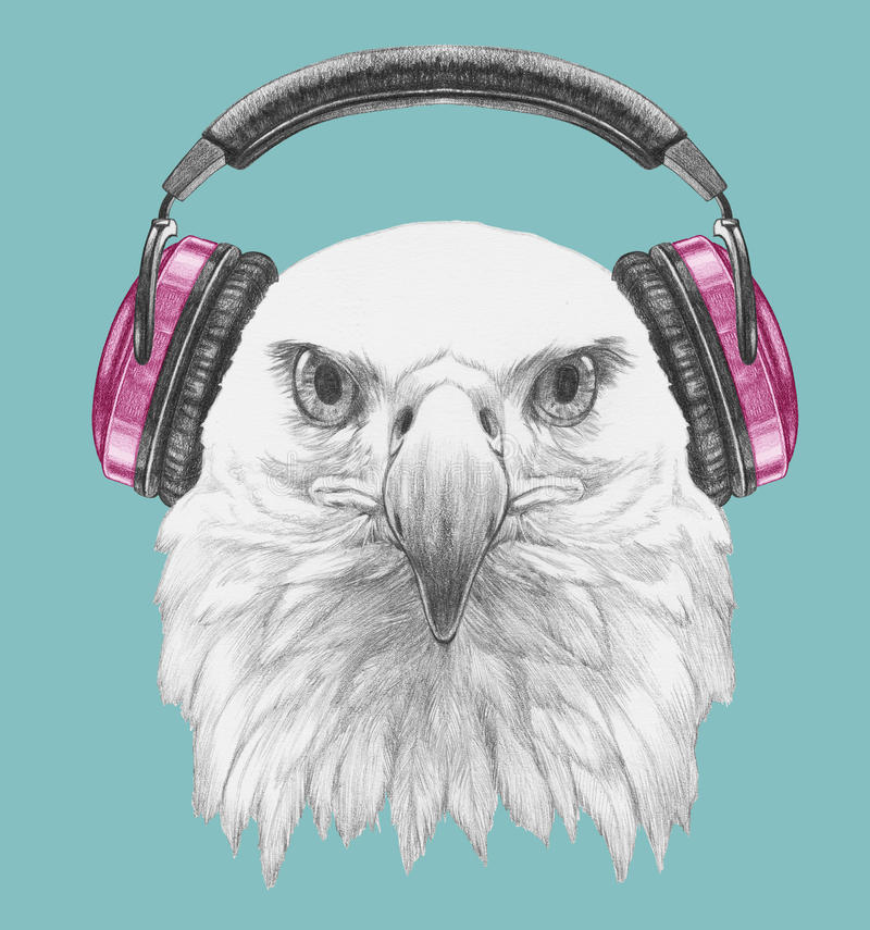 Free Portrait Of Eagle With Headphone. Stock Image - 85476781