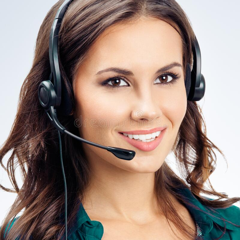 Free Portrait Of Female Phone Operator In Headset Stock Images - 184212904