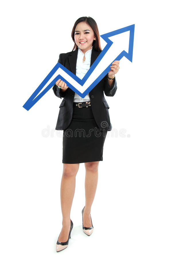 Free Portrait Of Full Lenght Beautiful Woman Holding Chart Arrow Sign Stock Images - 33454084