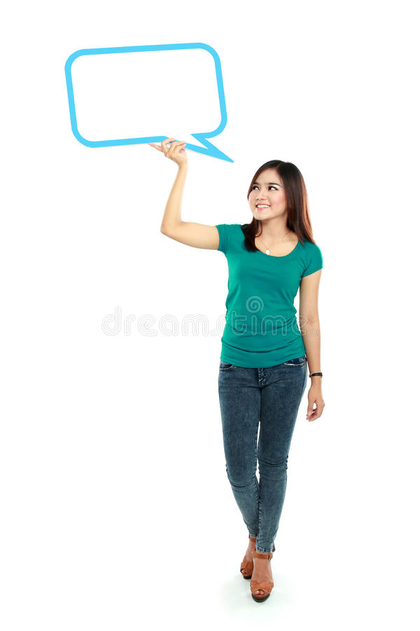 Free Portrait Of Full Lenght Young Girl Holding Blank Text Bubble In Royalty Free Stock Images - 33873509