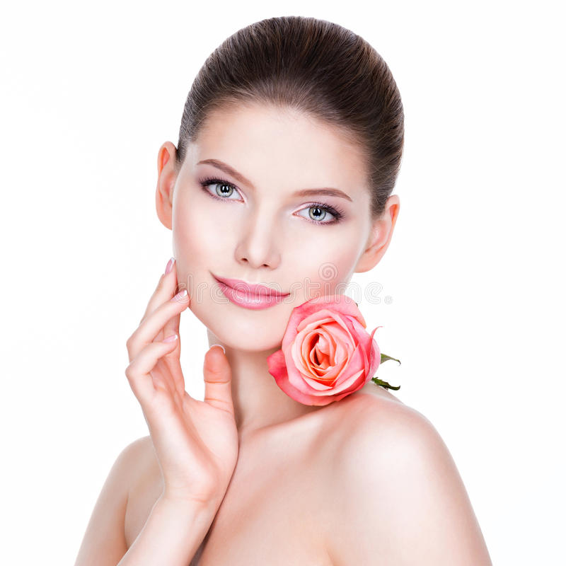 Free Portrait Of Pretty Face Of Beautiful Woman With A Pink Rose. Royalty Free Stock Photo - 61742085