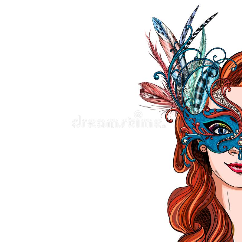 Free Portrait Of Pretty Woman In Luxury Carnival Mask Stock Photography - 166262712