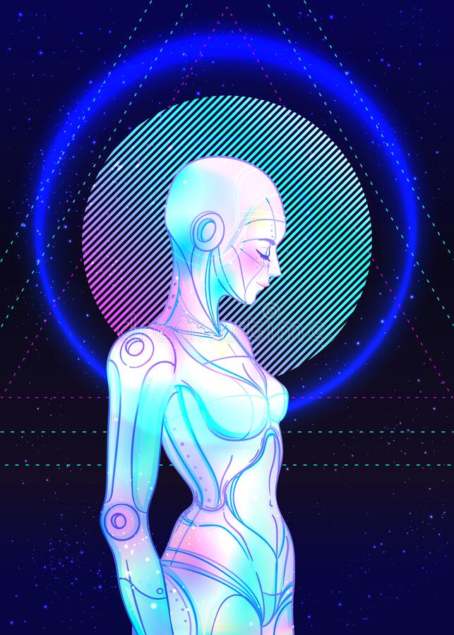 Free Portrait Of Robot Android Woman In Retro Futurism Style. Vector Illustration . Of A Cyborg In Glowing Neon Bright Colors Stock Photography - 169497542