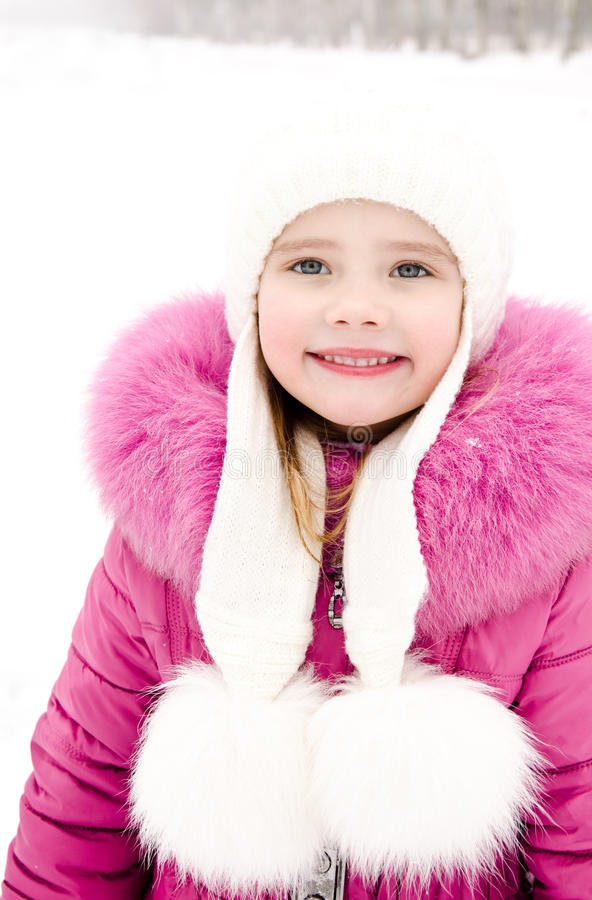 Free Portrait Of Smiling Little Girl In Winter Day Royalty Free Stock Image - 43897616