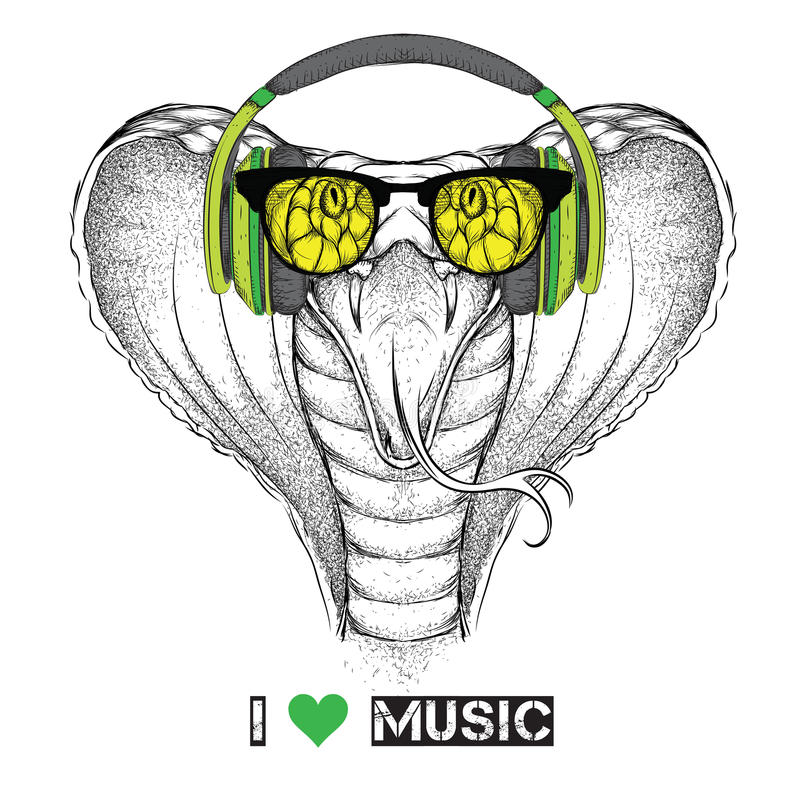 Free Portrait Of Snake With Glasses And Headphones. Vector Illustration Stock Image - 74481561
