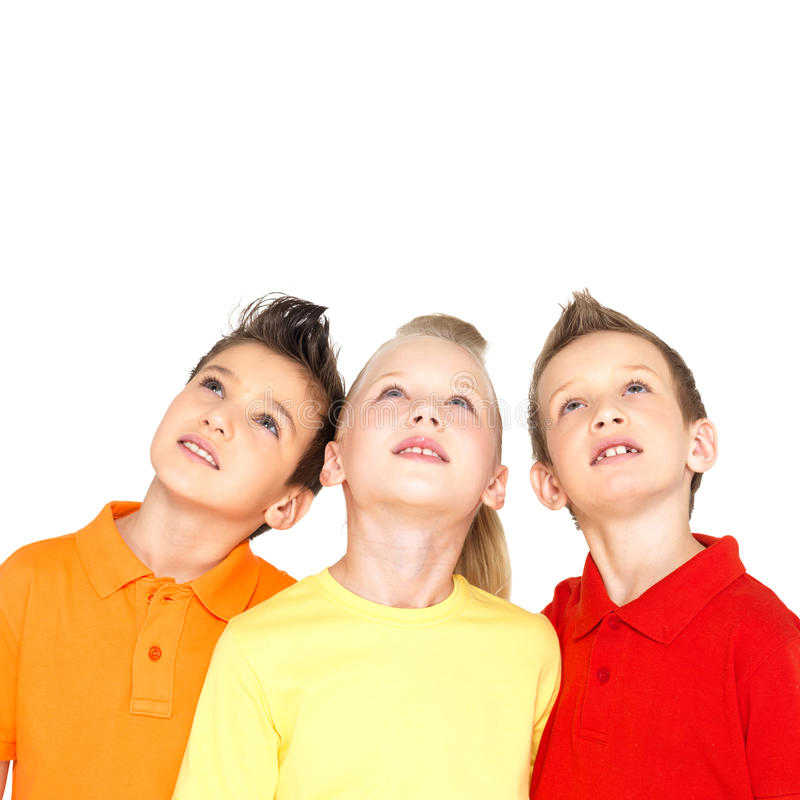 Free Portrait Of The Happy Children Looking Up Royalty Free Stock Image - 29127826