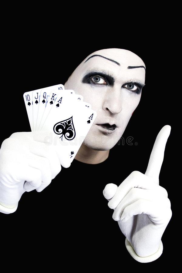 Free Portrait Of The Mime With Royal Flush Stock Photography - 7941382