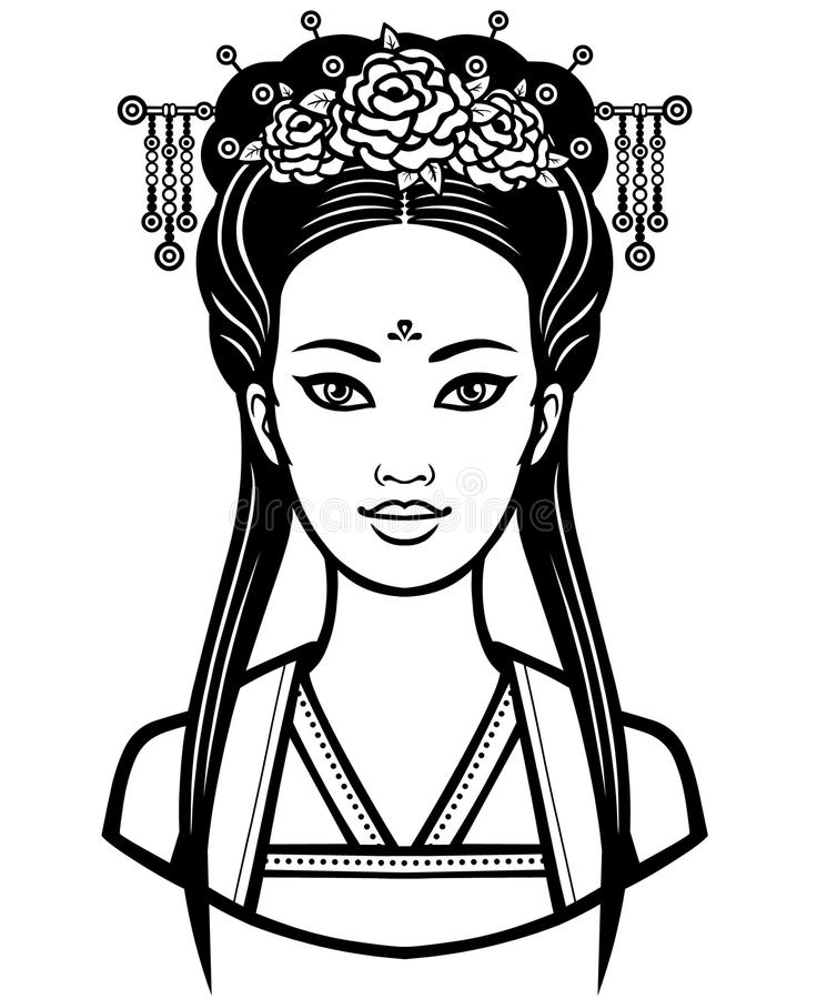 Free Portrait Of The Young Chinese Girl With An Ancient Hairstyle Stock Image - 99662971