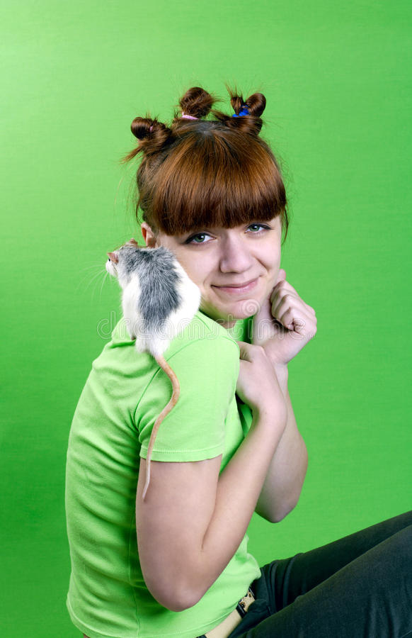 Free Portrait Of The Young Girl With White Rat Stock Photos - 14044493