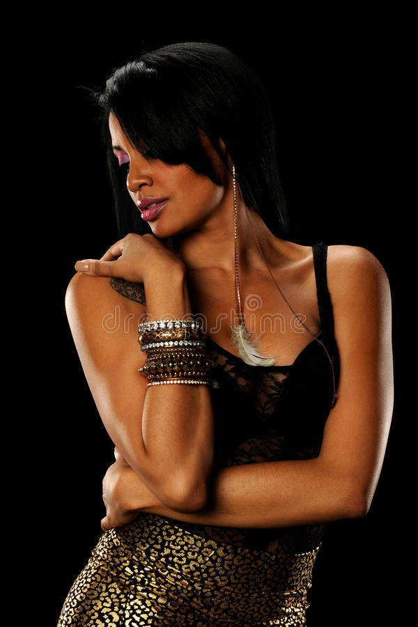 Free Portrait Of Young Black Woman Wearing Jewerly Stock Photo - 25391930