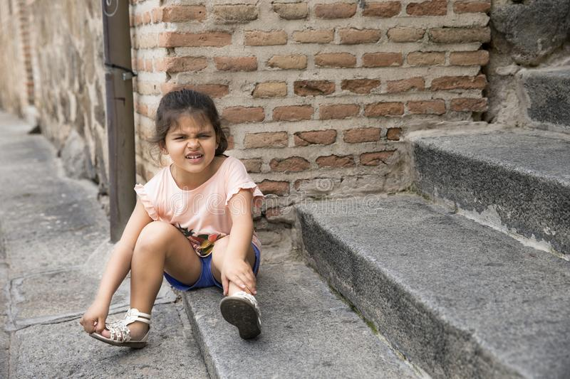 Portrait of offended little girl royalty free stock photo