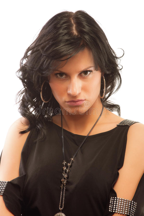 Portrait of offended young woman stock photography