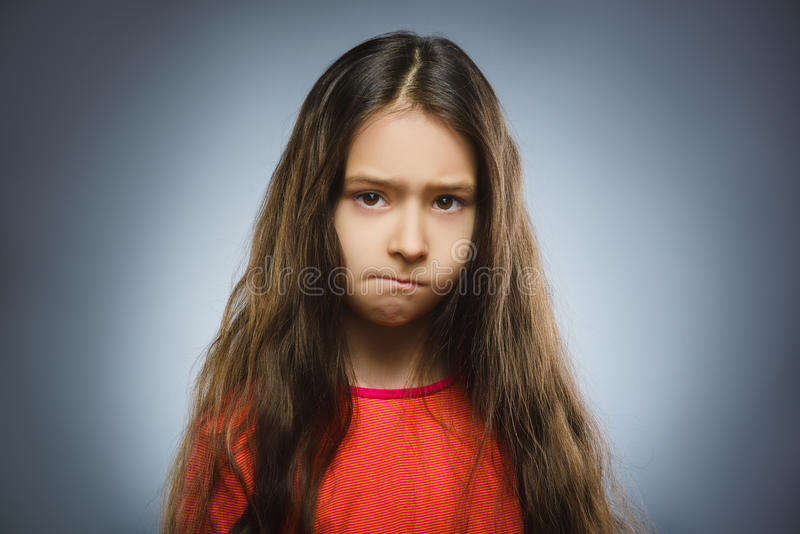 Portrait of offense girl. Negative human emotion royalty free stock image