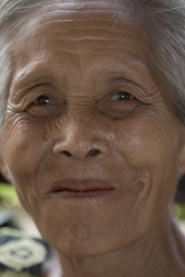 Portrait of an old Asian woman royalty free stock image