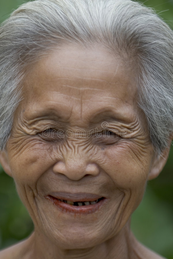 Portrait of an old Asian woman stock photos