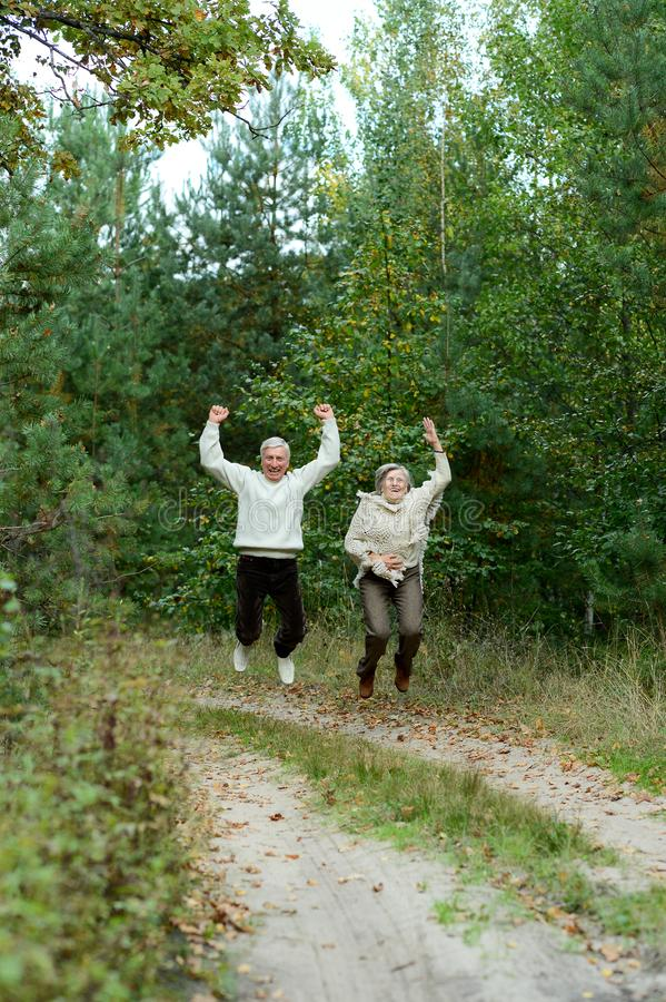 Portrait of old couple walking in autumn forest stock photos