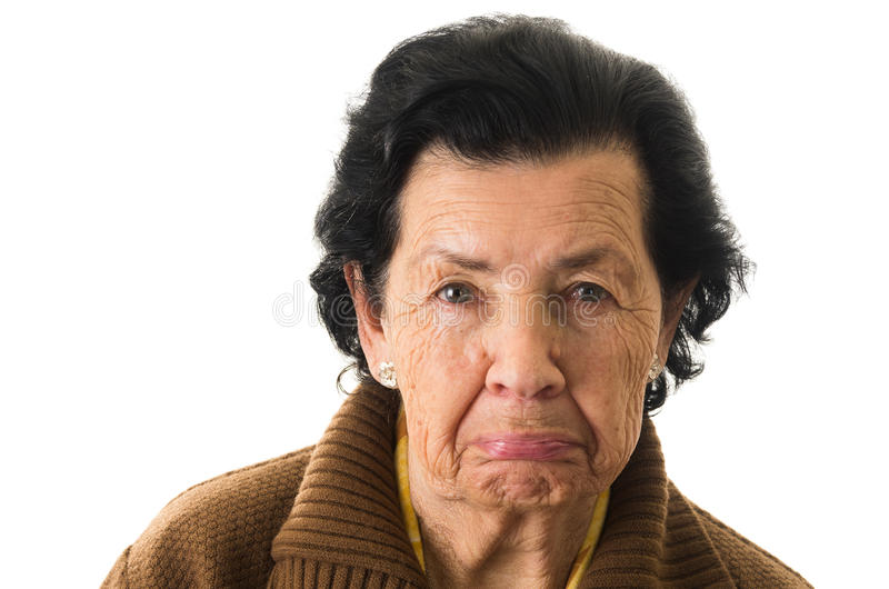Portrait of old cranky woman grandmother royalty free stock image