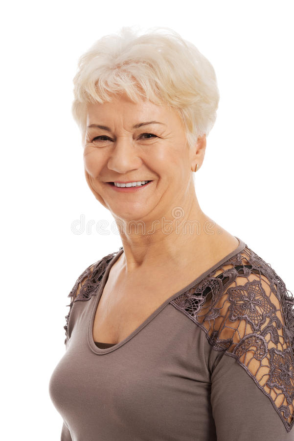 Portrait of an old, elderly lady. stock photography