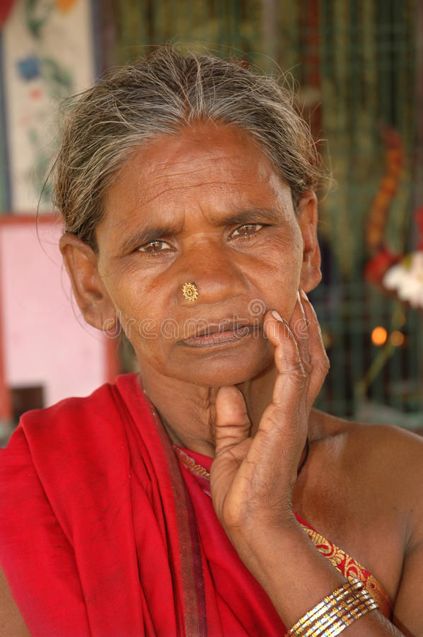 Portrait old Indian woman stock photos