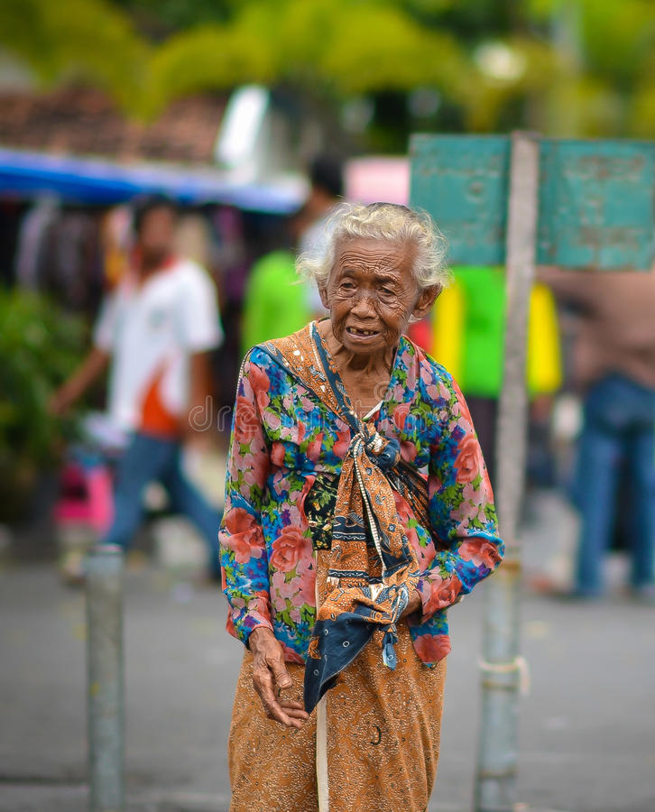 Portrait of an old Indonesian woman in Jogjakarta, Indonesia royalty free stock photo