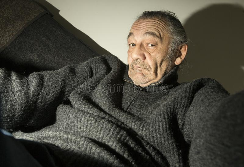 Portrait of the old godfather royalty free stock photography
