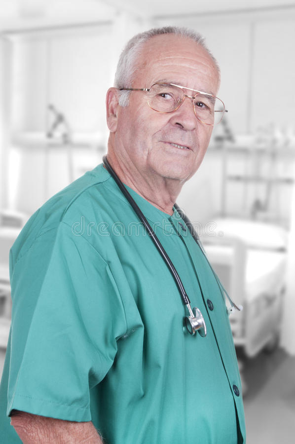 Portrait of an Old Male Doctor royalty free stock photos