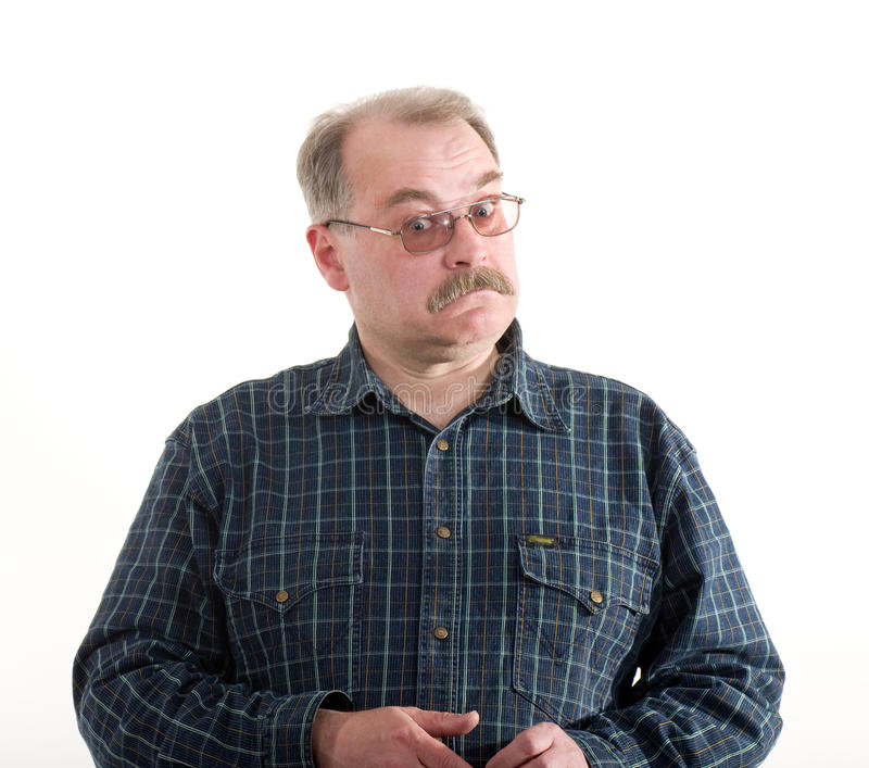 Portrait of a old man with glasses stock photography