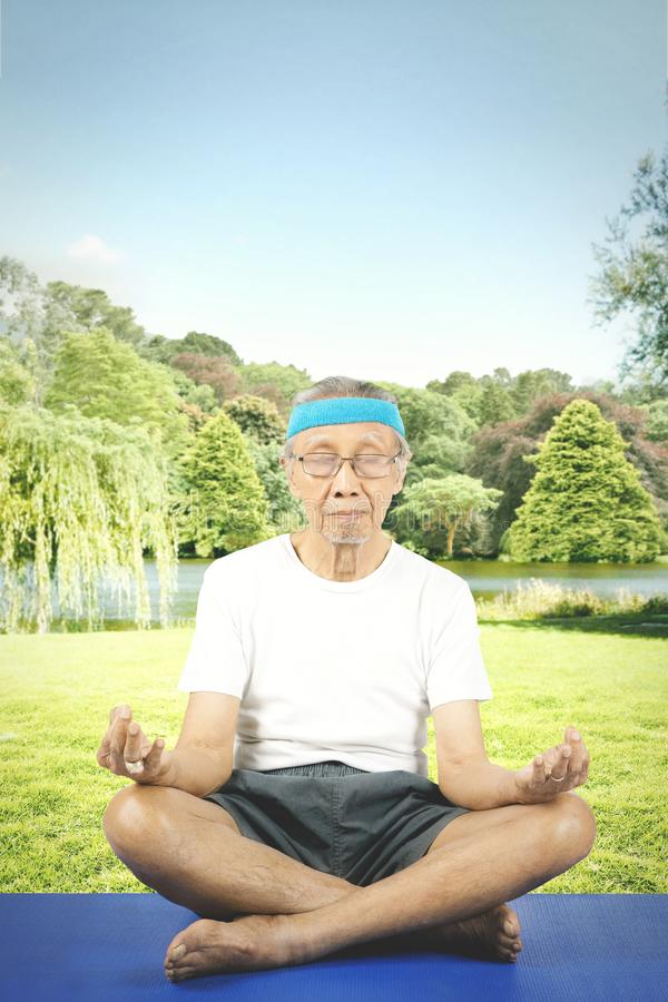 Old man meditating in the park stock image