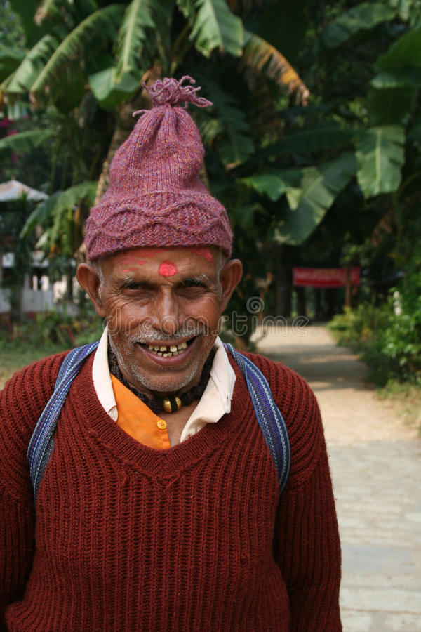 Portrait of an old man from Nepal royalty free stock photos
