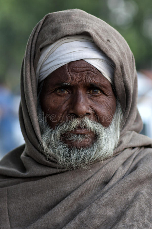 Portrait of an old man from Punjab, India stock photography