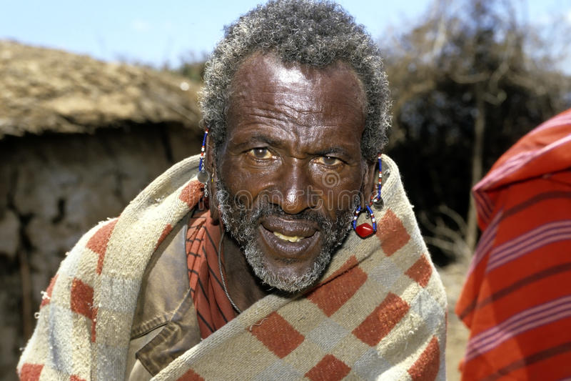 Portrait of old, sick, Masai man royalty free stock image