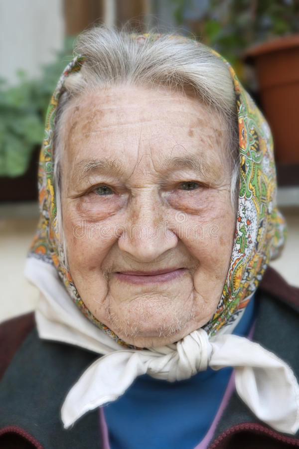 Portrait of an old woman. Portrait of 82 years old peasant woman from southern bohemia royalty free stock photography