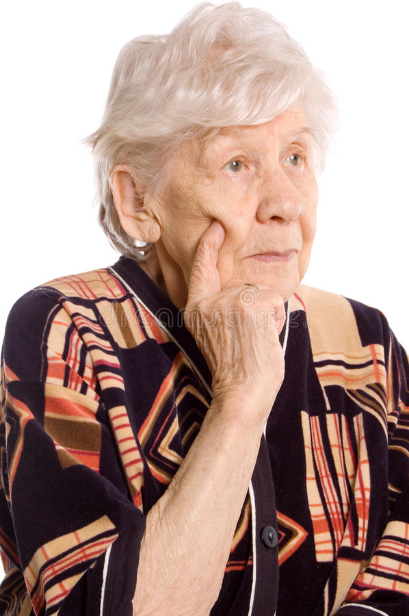 Portrait of the old woman. On white stock photo