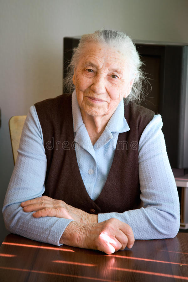 Portrait of an old woman stock image