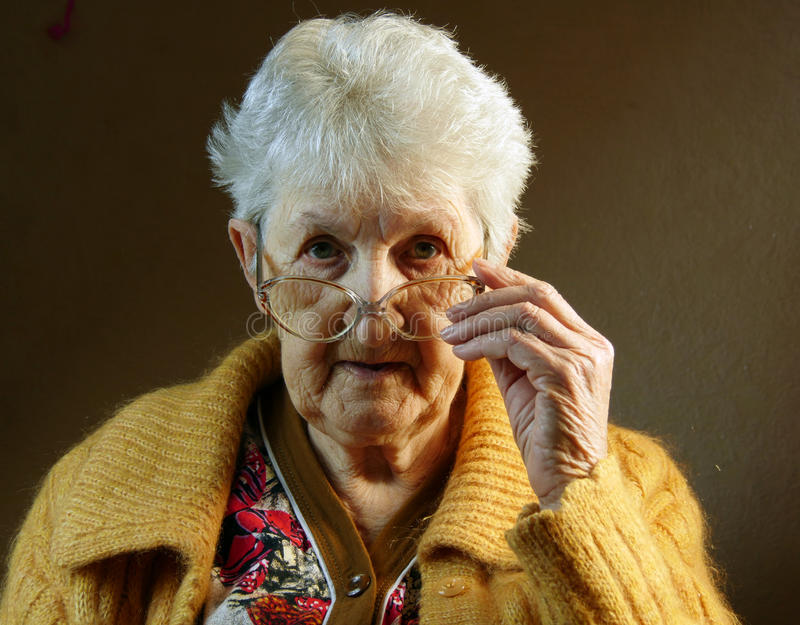 Portrait of an old woman. Close-up stock images