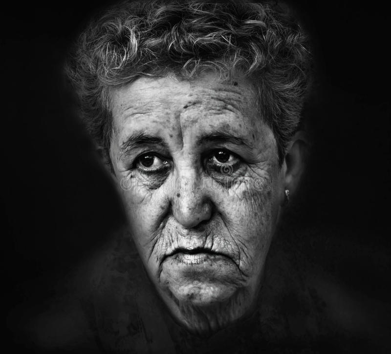 Portrait of old woman stock images