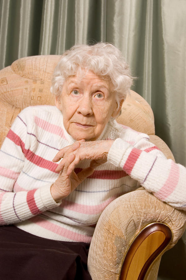 Download Portrait Of The Old Woman In Home Stock Photo - Image: 18938972