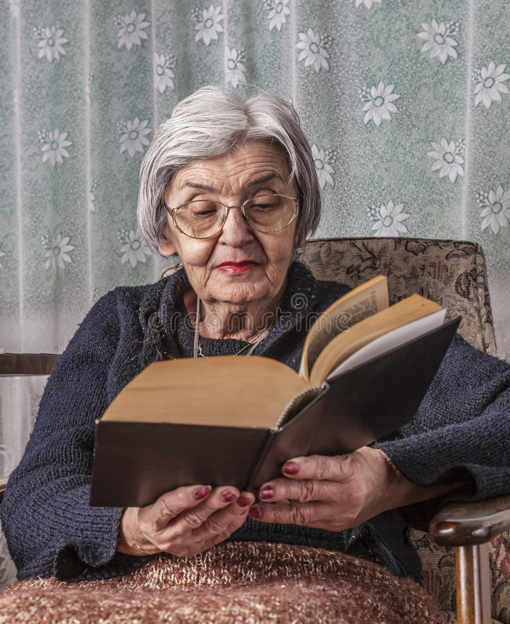 Download Portrait Of An Old Woman Reading Stock Image - Image of mature, person: 62872723