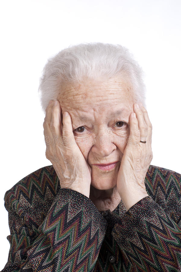 Download Portrait Of Old Woman Suffering From A Headache Stock Image - Image: 29085793