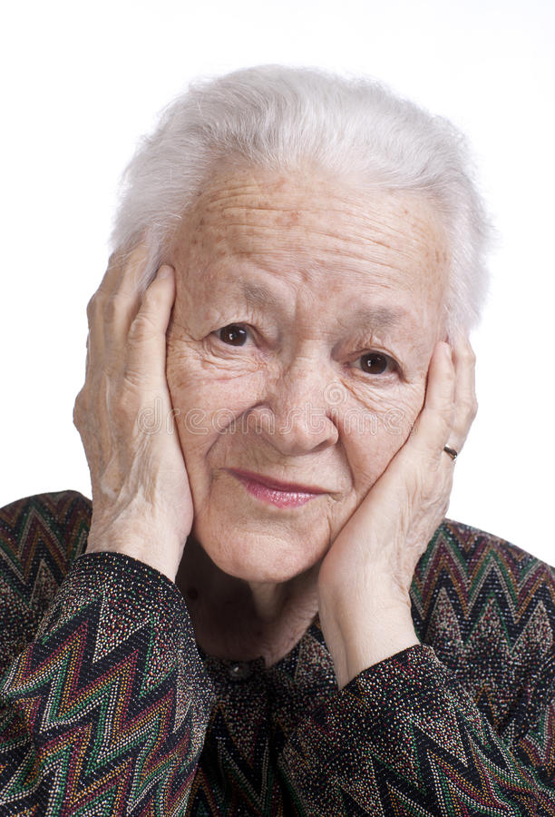 Download Portrait Of Old Woman Suffering From A Headache Stock Image - Image: 29085833