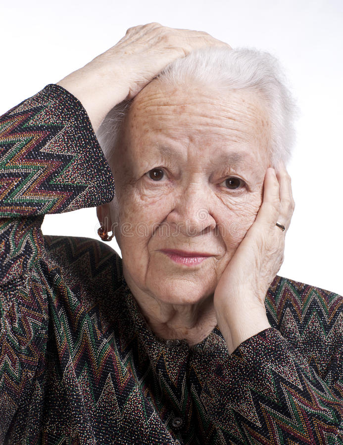 Download Portrait Of Old Woman Suffering From A Headache Stock Image - Image: 29085859