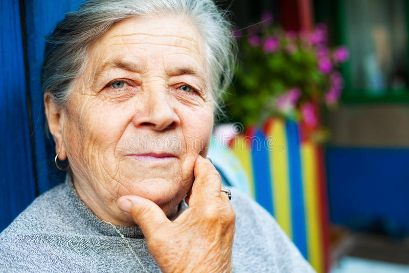 Download Portrait Of One Content Old Senior Woman Stock Photo - Image: 12663402