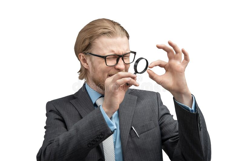 Portrait one man businessman with magnifying glass royalty free stock image