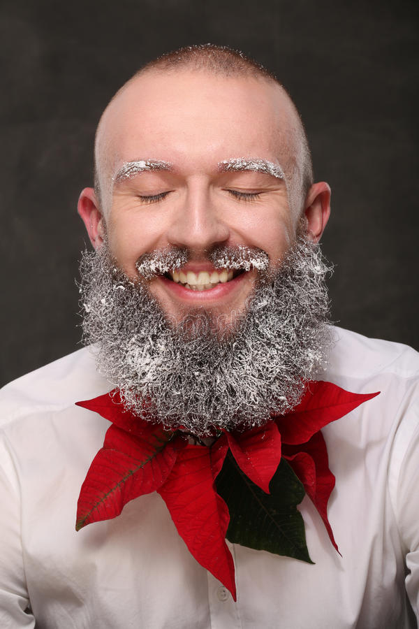 Portrait of one man with painted long beard in white royalty free stock photography