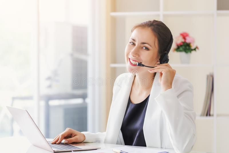 Portrait operator businesswomen royalty free stock images