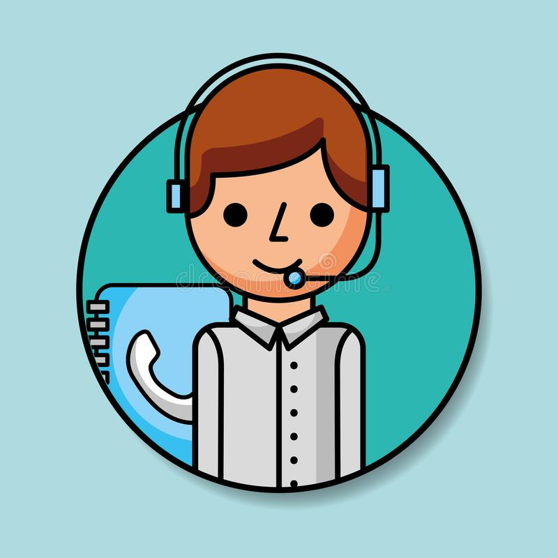 Portrait operator with headset and contact book customer service. Vector illustration vector illustration