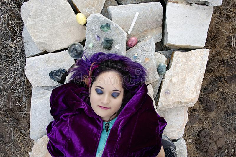 Dreaming Oracle Woman In Crystal Stone Meditation royalty free stock photos